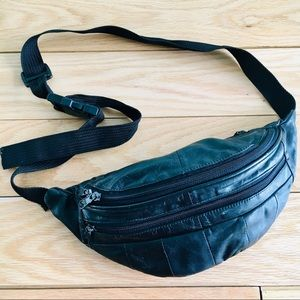 Black leather travel money belt